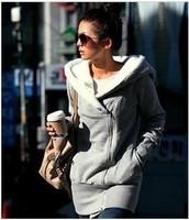 B13 2013 slanting lapel outerwear women's thickening sweatshirt outerwear