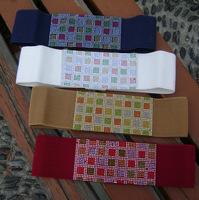 Free Shipping Multicolour rhinestones the small square elastic waist belt fashion women's cummerbund women's strap