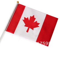 Free shipping wholesale good quality Canada small National flags with pole 14*21 cm