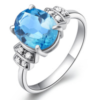 Free shipping Korean couple female of flammable volcano jewelry Natural Topaz Ring Sterling Silver Ring