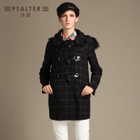 Psalter autumn and winter check british style slim double breasted fur collar wool coat wool 61680060