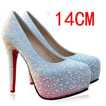 2013 TOP QUALITY 11/14CM SEXY FASHION HIGH HEELS DIAMOND RHINESTONE WEDDING BANQUET RED WHITE SILVER CRYSTAL WOMEN'S SHOES LADY