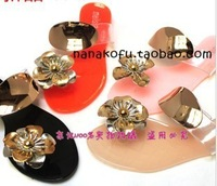 Free shipping 2013 Hot summer Womens candy color flower Casual shoes flat Sandals for women Slippers flip-flop,4 colors