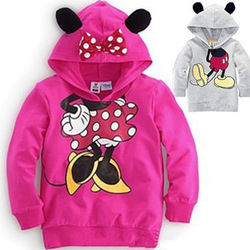 Children Hoodies Retail 1PCS Sweatshirts Disne 2013 kids babys boys girls Mitch Mini bow long-sleeved t-shirt free shipping(China (Mainland))