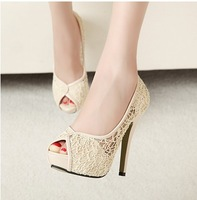 lady's high heel shoes sexy fashion woman shoes  platform  Pumps Lace shoes high-heeled shoes  thick bottom fish mouth sandals