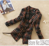 2013 autumn and winter  New Arrival  women plaid  outerwear   Korean style British vintage office  jacket plus size coat