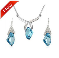 New Designs Wishing Stone Full Rhinestone Crystal Drop Necklace Set 2013 6 Sets/lot Free Shipping
