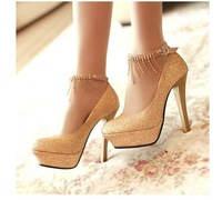 Free shipping champagne dress pumps fashion women pumps gold lace high heel shoes