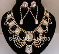 Free Shipping Wegirl 2013 Crystal Statement Jewelry Sets Rhinestone 18k Gold Plated collar Necklace Earring Fashion Jewelry2T208
