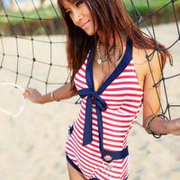 One piece Stripe Navy Style Swimwear Hot Sexy Swimsuit Lady Bikini