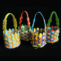 Free Shipping Eva DIY Cartoon Flower Basket, Handmade Kids Bag Gift, Child Educational Traning 3D Puzzle Sticker Toys, 4 Designs