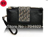 2013 New Arrival,Bas Wholesale,Fashion Solid Pu leather with Rivets zipper Women Clutch Wallets,Women Clutch,Designer Purse
