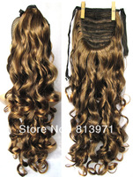 """22"""" Women's Clip in Ribbon Ponytail Hair Synthetic Hair Tail Curly Ponytail Extensions #2/30 Light Brown Ponytail Wig Hairpieces"""