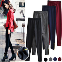 Autumn and winter thickening zipper plus velvet legging female thermal solid color all-match boot cut jeans skinny pants