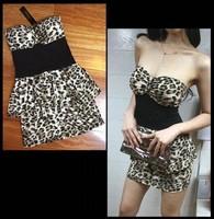 skirt Leopard print dress tube top slim hip sexy one-piece dress