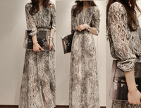 Free Shipping 2013 chiffon bohemia dress full serpentine pattern full print chiffon dress Elegant OL Dress(S/M/L)130408#13