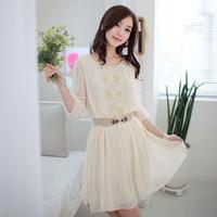 skirt women's gauze patchwork summer chiffon one-piece dress honey clothes