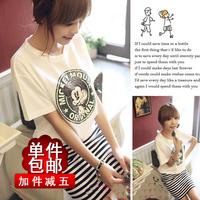 skirt spring short-sleeve stripe patchwork one-piece dress honey women's clothes