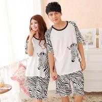 2013 100% summer cotton sleepwear male women's 100% cotton zebra print short-sleeve lovers lounge