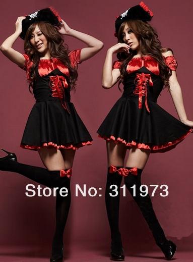 Sexy uniform tempt Costume pirates Cosplay uniform party dress Club wear Halloween clothing #6006(China (Mainland))