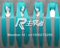 FREE SHIPPING Anime 47' 1.2m Vocaloid Hatsune Green Miku Cosplay Blue Wig Hair  2Clips on Ponytail   Heat Resistant