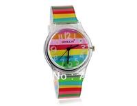 Freeshipping + 2014 New luxury Ladies brand Stylish Rainbow Pattern Women's and Children's Analog Wrist Watch with Plastic Strap