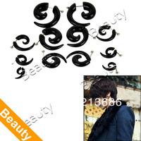 Unisex 12PCS Black Ear Spiral Tapers False Snail Shape Set  8520