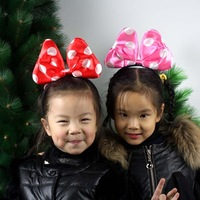Free Shipping 2 pcs Clown hair accessory bow headband Christmas party satin hair accessory  lovely dot headhoop  PW0034