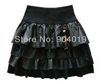 Lady Deluxe PU Leather Chiffon Hot Fix Rhinestone Cake Tower Skirt Mini Dress Black
