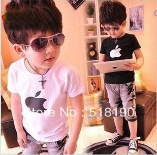 Free Shipping Boy T shirt with white Black Apple Short-sleeved boy summer wear