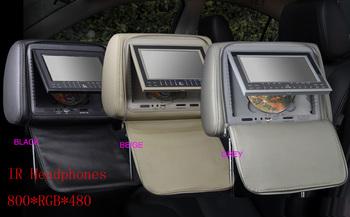 free shipping KS704 7inch HD 2 Car Headrest Monitor Pillow DVD Player with USB SD 720P RMVB 32 Bits Game IR/FM Transmitter