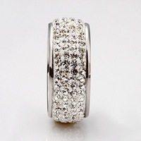 18KGP R020 plating platinum rings, rhinestone inlaid, classic fashion style