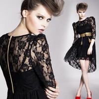 Women two piece black lace round neck 3/4 sleeve asymmetrical hem w spaghetti strap dress Free shipping