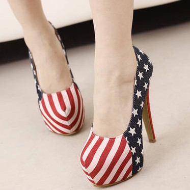 High-heeled shoes platform 14cm 2013 spring fashion denim american flag single shoes(China (Mainland))