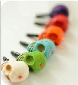 Small accessories fashion punk skull cell phone earphones dust plug for apple for iphone