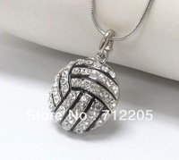 free shipping 5pcs a lot  volleyball with crystal sport pendant necklaces