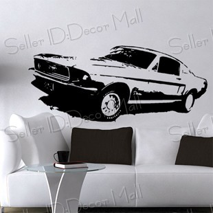 Mustang GT Famous sports car PVC Wall Sticker ,Wall Decal ,Wallpaper, Room Sticker, House Sticker Free Shipping C-970