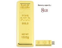 Free Shipping 4GB 8GB 16GB 32GB 64GB Golden Bar USB Flash Drive (Golden) 100% Full Capacity