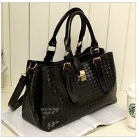 New fashion 2013 summer women's handbags PU leather woven bags solid color lady's shoulder bags