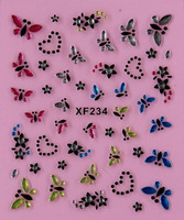 Free Shipping 20ps/lot XF series Nail Decals White and Black Flower with Colorful Rhinestones Mixed Many Shapes