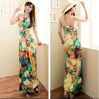 Women sleeveless beads decor backless flower design tie strap long dress Free shipping