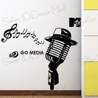 Music microphone PVC Wall Sticker ,Wall Decal ,Wallpaper, Room Sticker, House Sticker Free Shipping m-3640