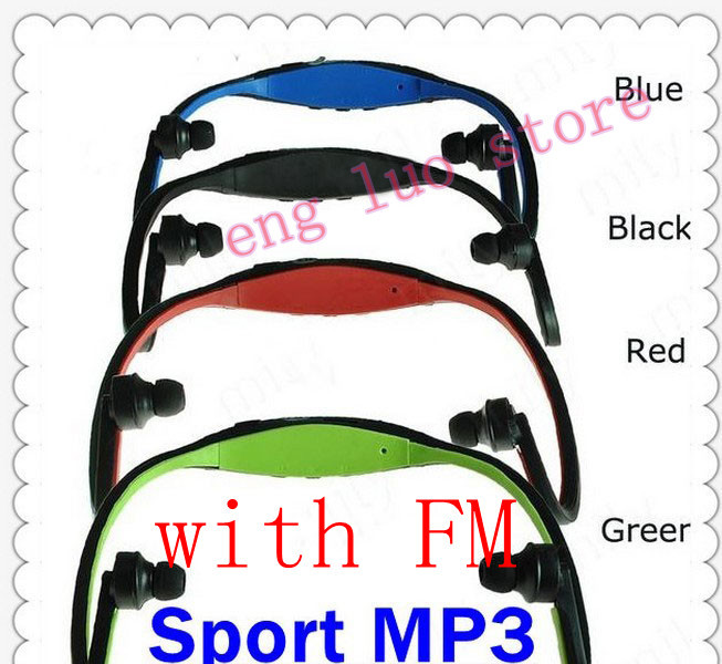 free shipping Colourful Wireless Sports Mp3 Head Set Earphone Support 1G-8GB TF Card Mp3 Player+FM function Mirco SD Player(China (Mainland))