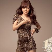 New Arrive women asymmetrical slash neck one shoulder leopard mini dress Free shipping