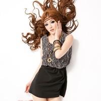 Women black gray stripe patchwork scoop neck sleeveless dress Free shipping