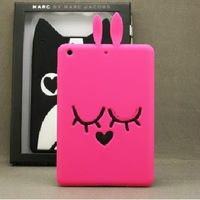 Free shipping!New Arrival Top Quality HOT sale 3D Fashion for Apple ipad mini Cute Silicone soft Cat dog rabbit Skin Case