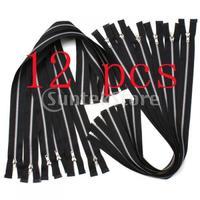 Free Shipping 12 Black Metal Zippers - 19.5 Inch
