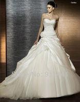 Taffeta & Organza Princess Off Shoulder Applique Pleat Sleeveless Cathedral Train Elegant Wedding Dress n Lace veil No.HQW20
