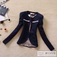 Autumn new arrival 2012 women outerwear formal vintage slim collarless woolen blazer 2