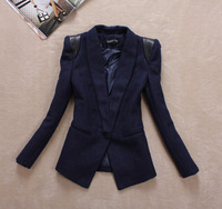 2012 autumn and winter women outerwear small fashion shoulder pads slim medium-long one button blazer